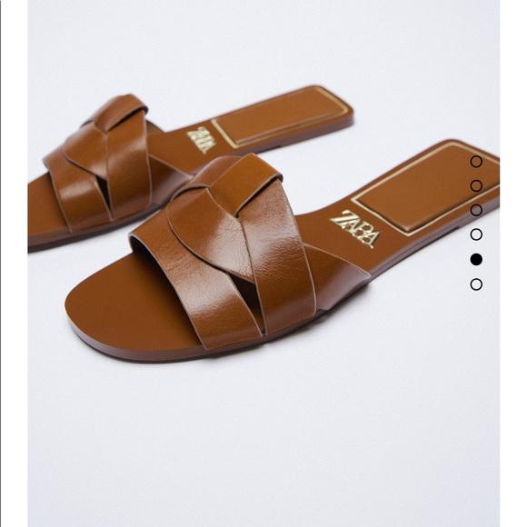 Zara Leather Crossed Sandal Slides